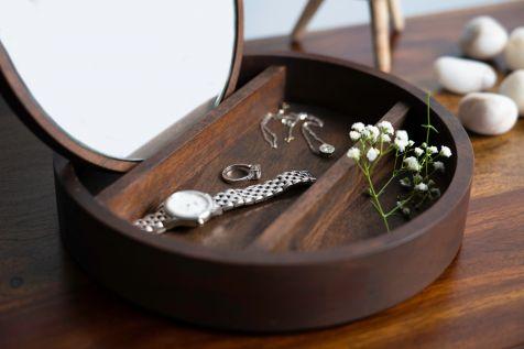 Wooden Jewellery Box - Round
